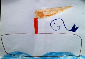 A contented whale sailing.