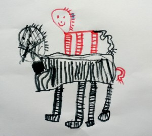 Zebra (carrying baby zebra)