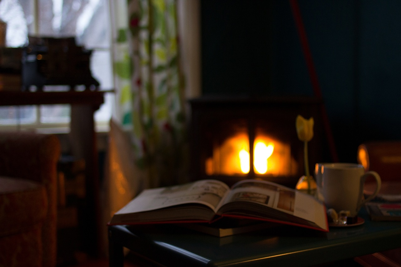 reading, fireplace