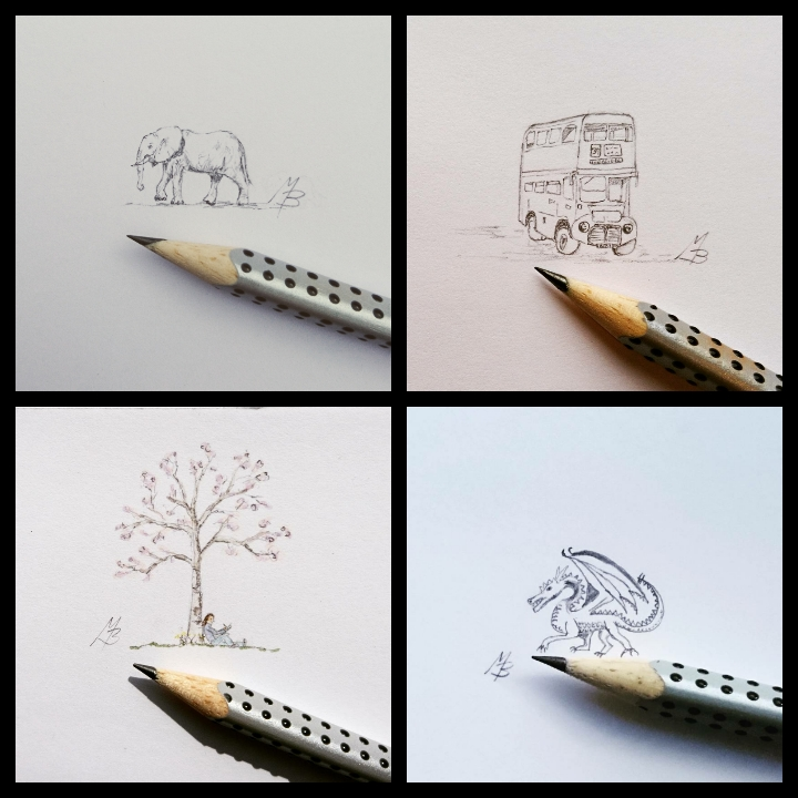 elephant, bus, tree and dragon
